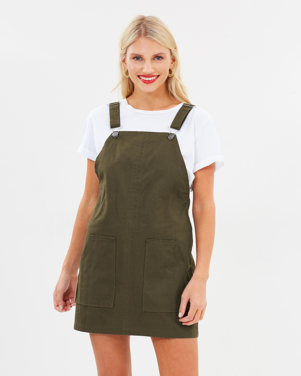 Atmos & Here ICONIC EXCLUSIVE Atomic Pinafore Dress Dresses Khaki ICONIC EXCLUSIVE Atomic Pinafore Dress