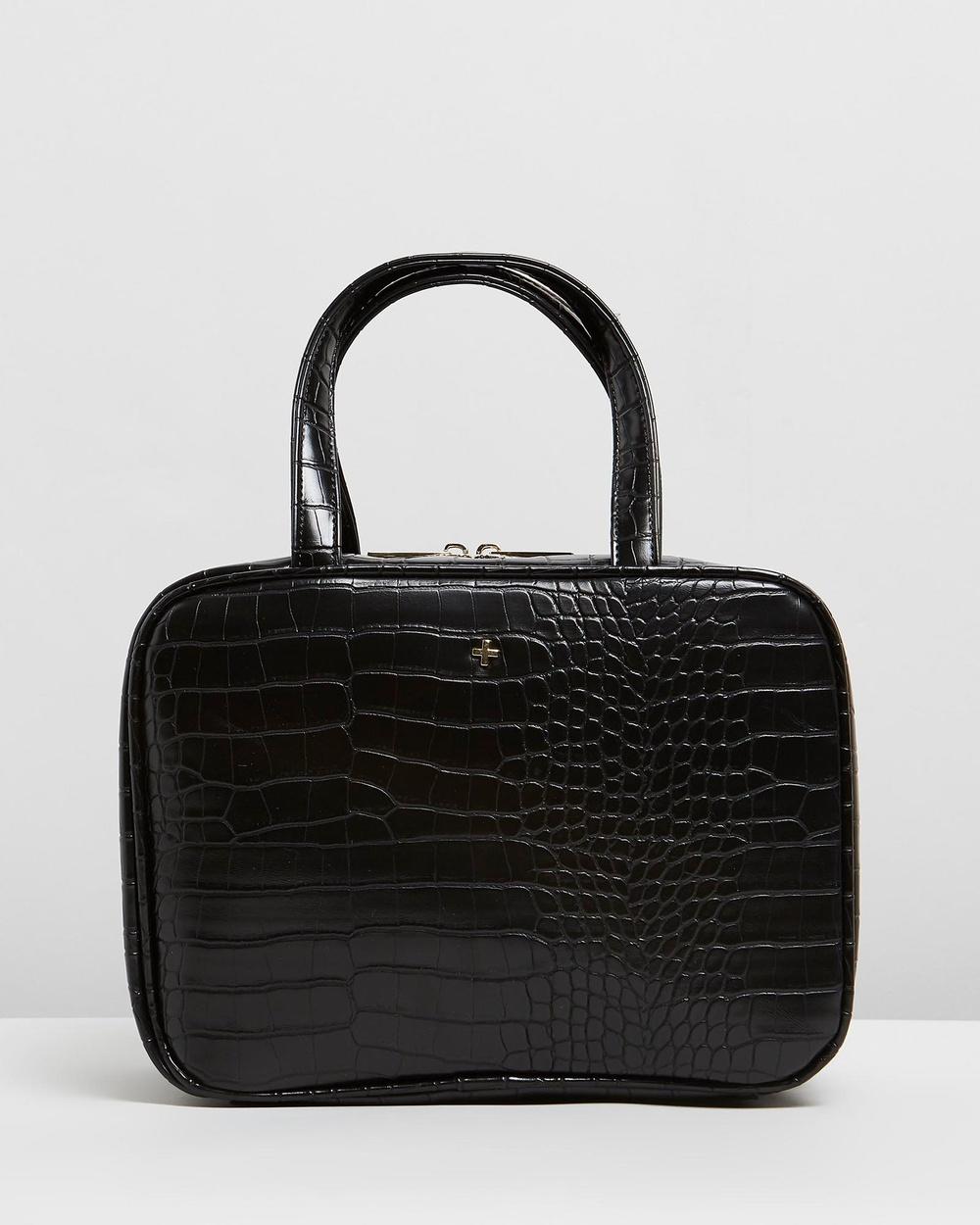 PETA AND JAIN Sutton Cosmetic Holdall Bags & Tools Black Croc