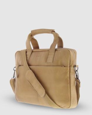 Cobb & Co Lawson Jr. Soft Leather Briefcase - Satchels (Camel)