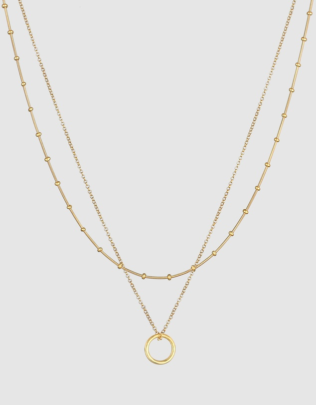 Women Necklace Layer Chain Circle Pendant Timeless in 925 Sterling Silver Gold Plated