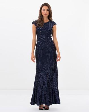 Romance by Honey and Beau – Rosaria Cap Sleeve Maxi Dress Navy