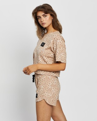 Cartel & Willow - Badge Logo Top Tops (Tan Leopard)