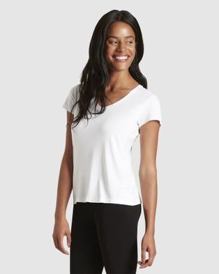 Boody Organic Bamboo Eco Wear - V Neck T Shirt - Short Sleeve T-Shirts (White) V-Neck T-Shirt