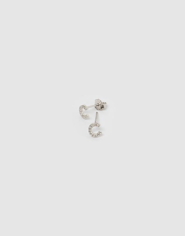 Women Alphabet Mini Letter C Stud Earrings Silver