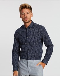 Ben Sherman - Long Sleeve Wave Texture Print Shirt