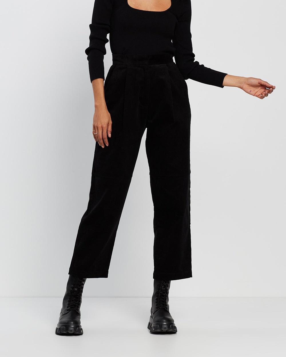 AERE Organic Cotton Cord Pants Black