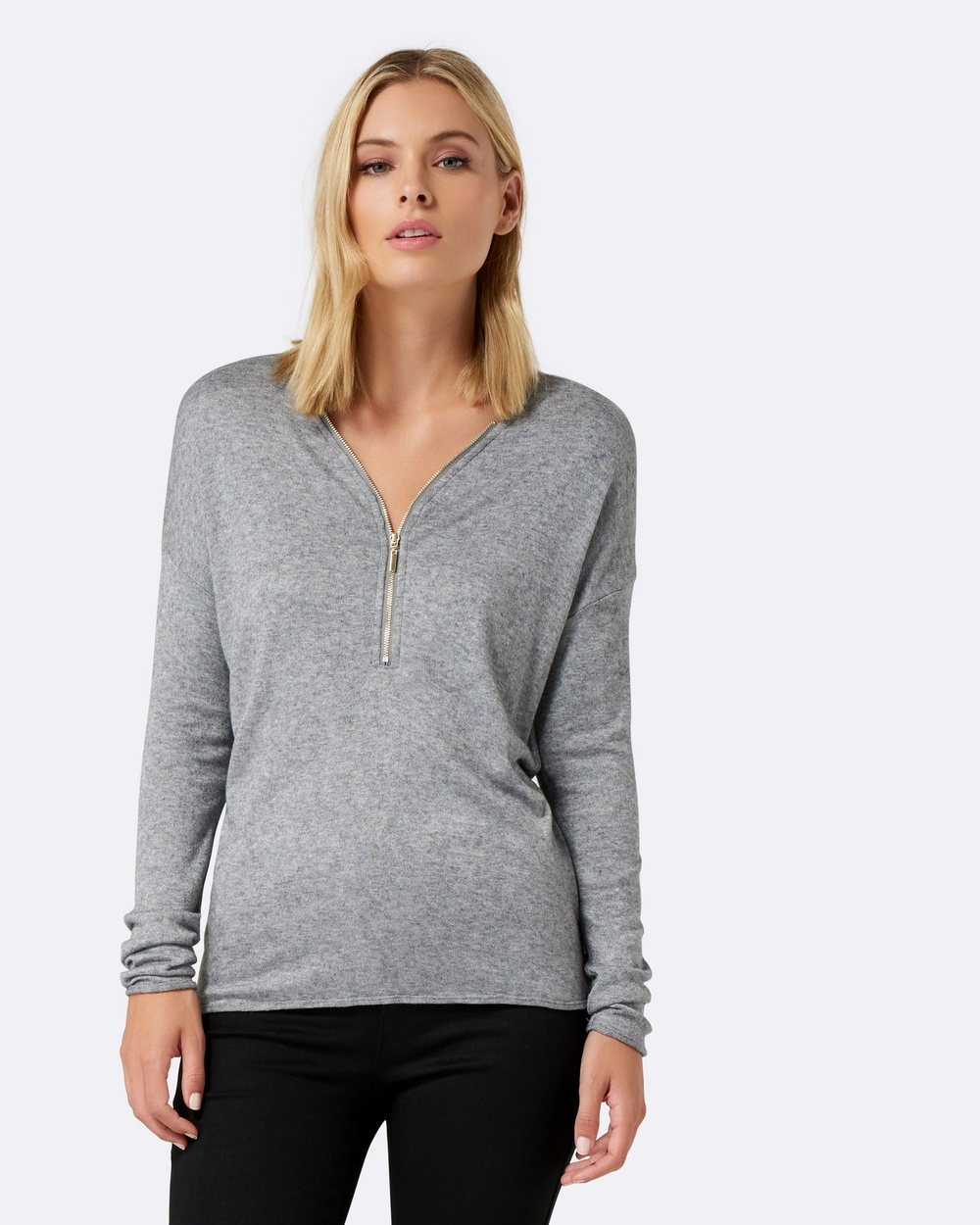 Photo of Forever New Forever New Ranee Zip Front Cut and Sew Top Tops Grey Marl Ranee Zip Front Cut and Sew Top - PLEASE NOTE: THE ICONIC IS UNABLE TO SHIP THIS PRODUCT TO NEW ZEALANDKnown for their signature feminine style, Forever New designs are created to celebrate the beauty of the female figure. Defined by a versatile collection of pieces that will have you stepping out with confidence, look to the brand for tailored separates, classic gowns, effortless party dresses and po