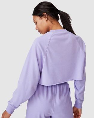 Cotton On Body Active Crop Raglan Fleece Top - Sweats (Chalky Lavender Marle)