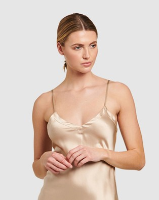 GINIA Silk V Neck Long Nite - Sleepwear (Mink)