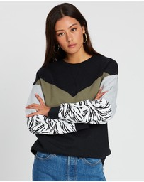 All About Eve - Zebra Shift Crew Sweater