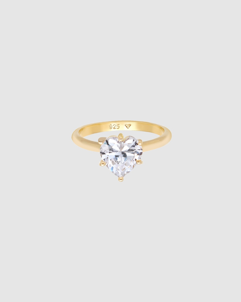 Elli Jewelry Ring Engagement Heart Zirconia Crystal Solitaire in 925 Sterling Silver Gold Plated Jewellery white
