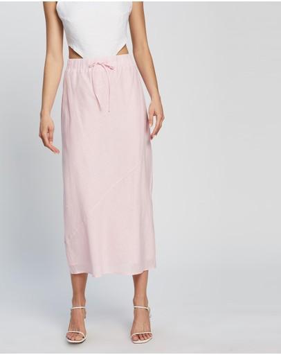 Dazie Au Revoir Linen Midi Skirt Pink