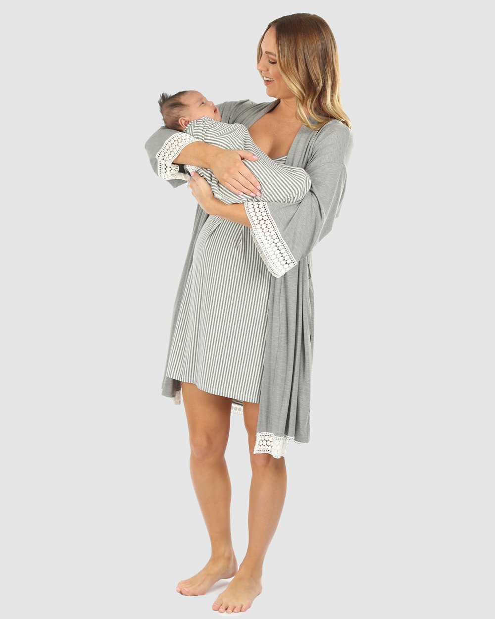 83c27d8221d 3 Piece Hospital Pack - Nursing Dress + Lace Robe + Baby Wrap Set by Angel  Maternity Online