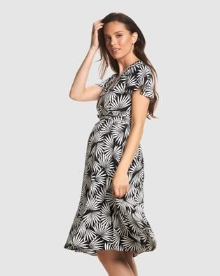 Soon Maternity Elizabeth Midi Dress - Printed Dresses (Black)