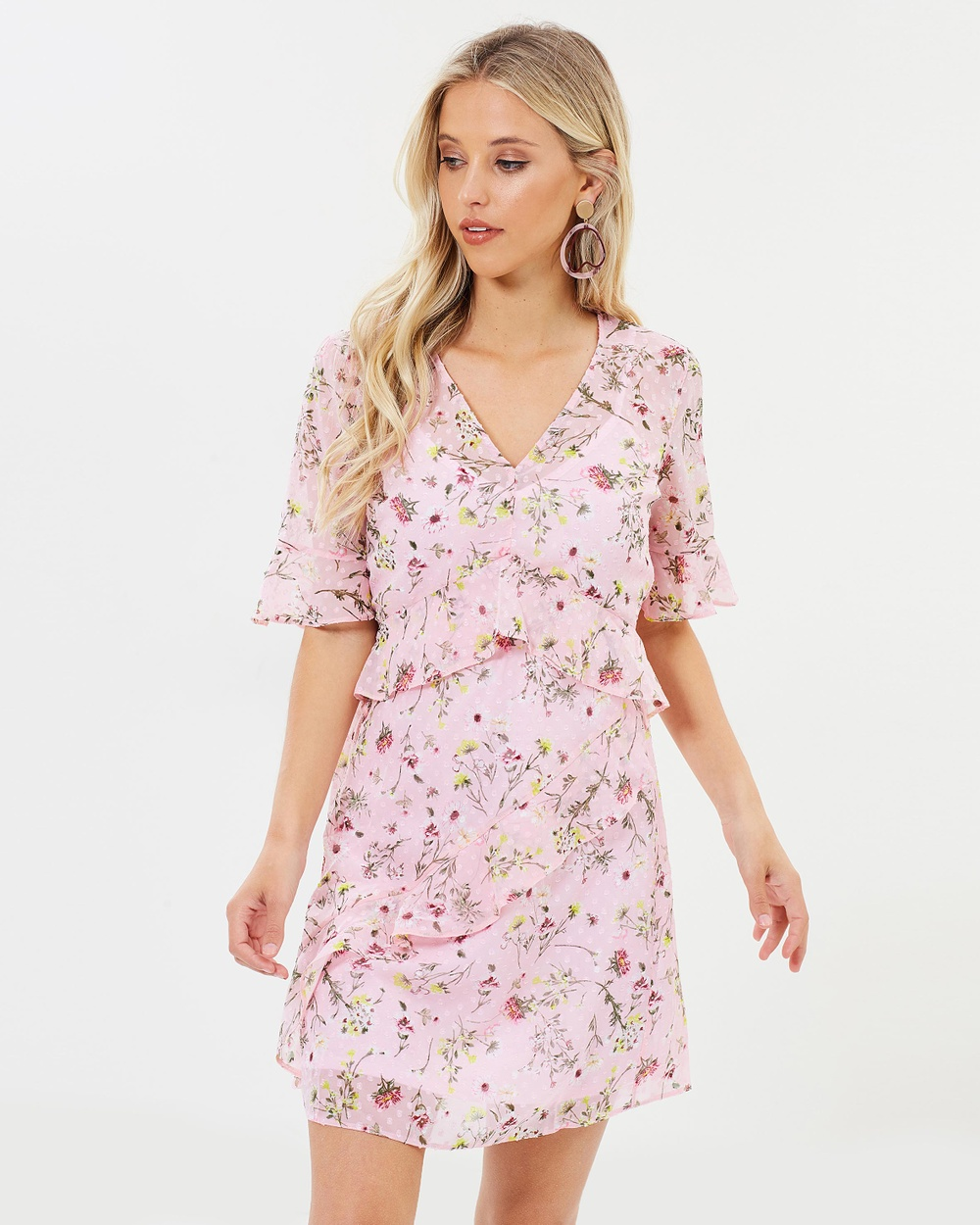 Miss Selfridge Botanical Beth Dress Printed Dresses Pink Botanical Beth Dress