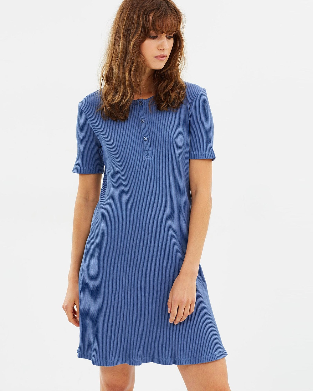 Ryder Jet Ribbed Dress Dresses Blue Jet Ribbed Dress