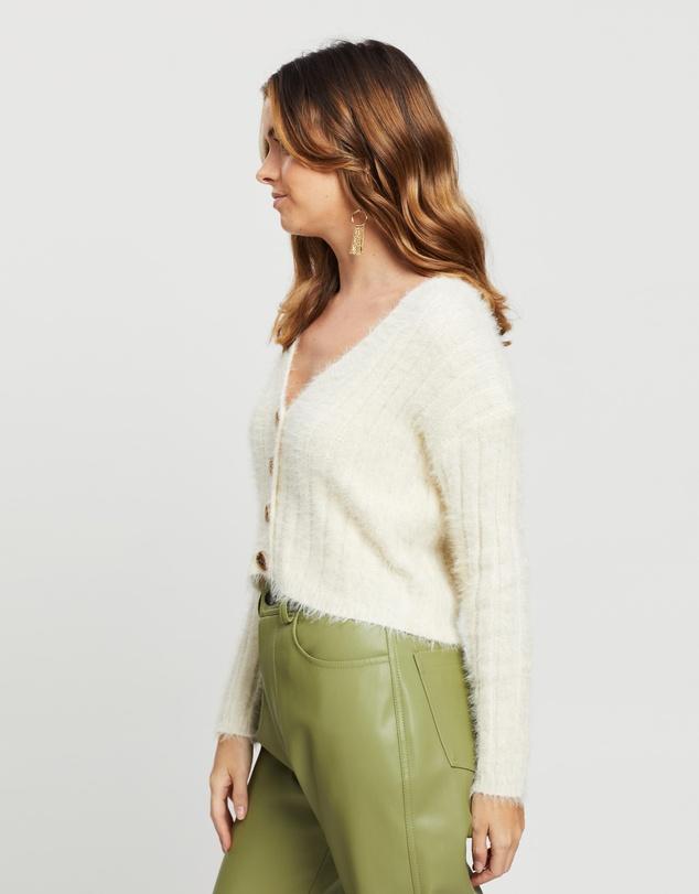 Women Petite Ribbed Fluffy Super Crop Cardigan