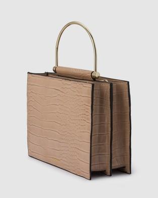 Olga Berg Floss Square Croc Metal Handle Bag - Clutches (Natural)