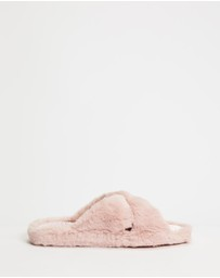 Ted Baker - Cameo Faux Fur Strap Slippers