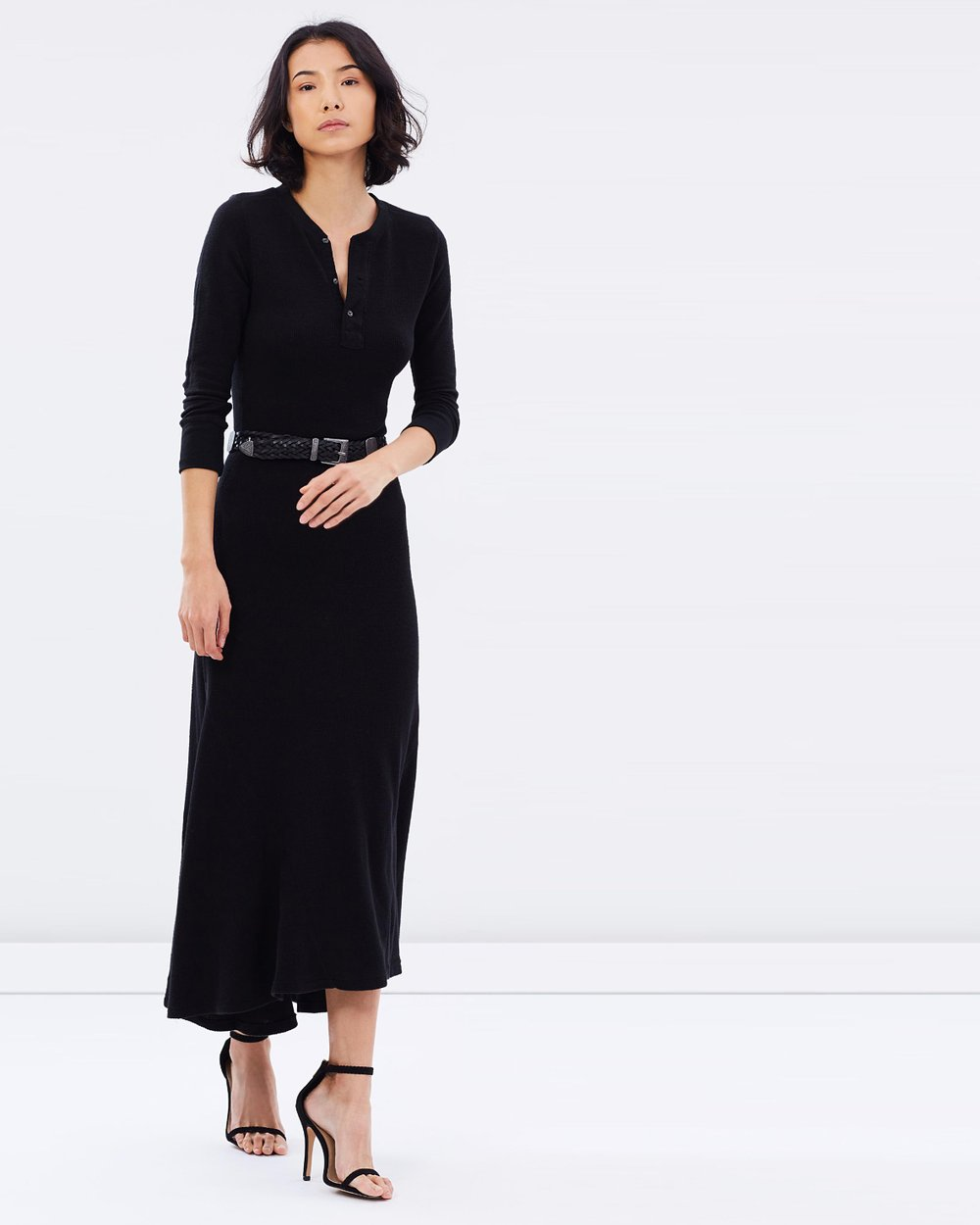 f644788f2a3 Theiconic · Waffle-Knit Henley Maxi Dress by Polo Ralph Lauren ...