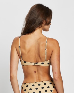 Faithfull The Brand Blair Top   THE ICONIC Exclusive - Bikini Tops (Emelda Dot Print - Biscuit)