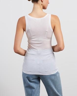 American Vintage Round Collar Sleeveless Tank Top - T-Shirts & Singlets (White)