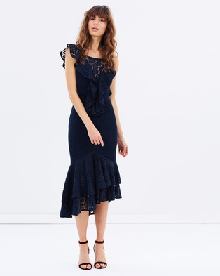 Talulah – Aquino Pleated Midi Dress – Bridesmaid Dresses Navy