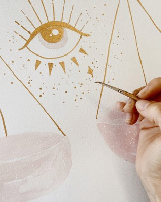 By Charlotte Libra Zodiac A4 Unframed Print - Home (White)