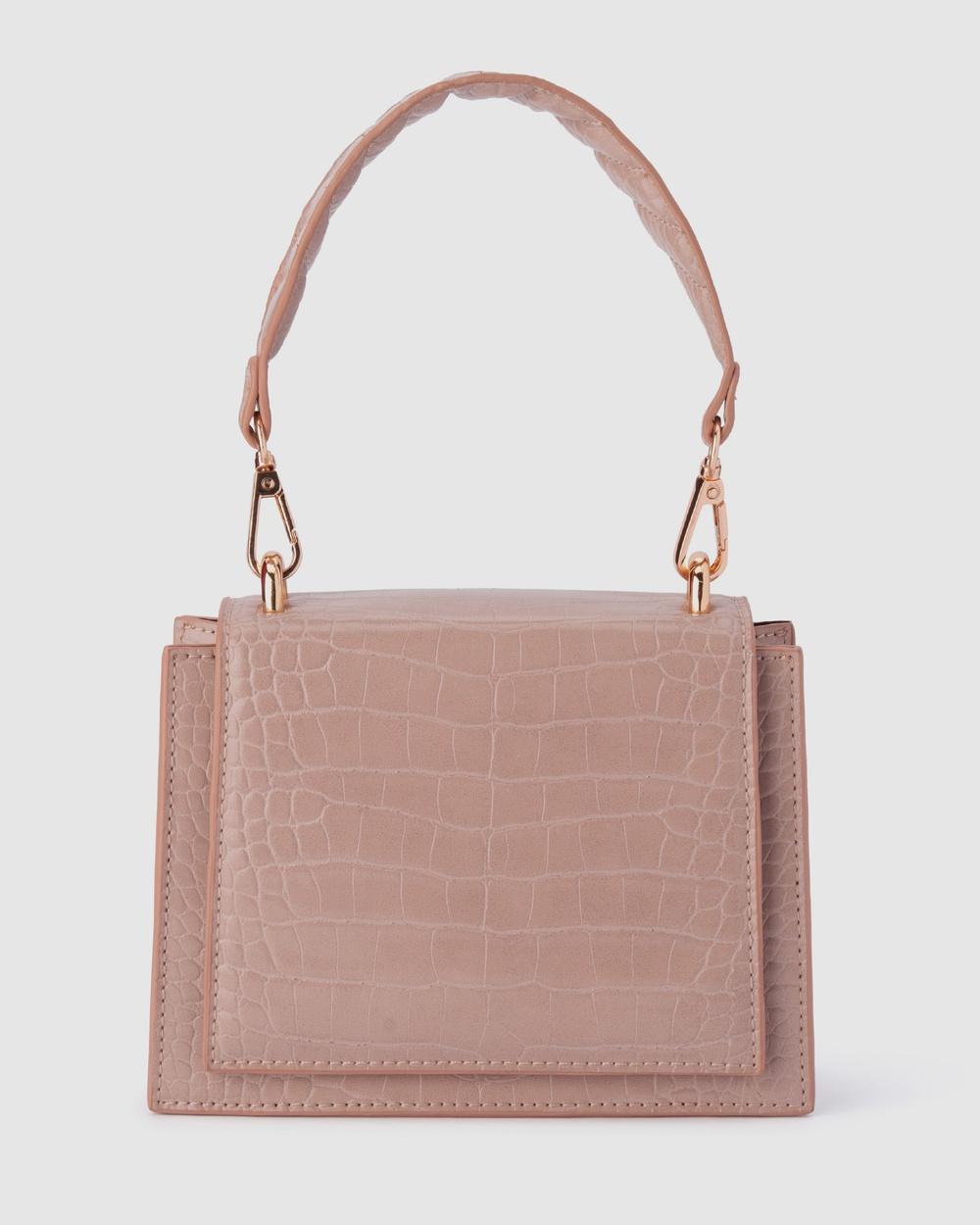 Olga Berg Molli Croc Embossed Top Handle Bag Handbags Pink Handbags Australia