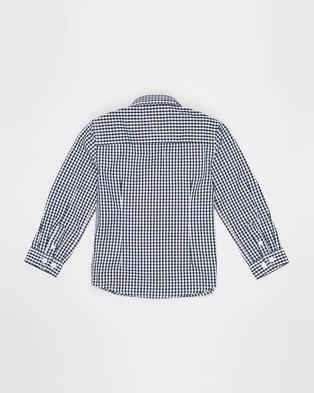 Tommy Hilfiger Long Sleeve Gingham Shirt   Kids - Clothing (Sky Captain)