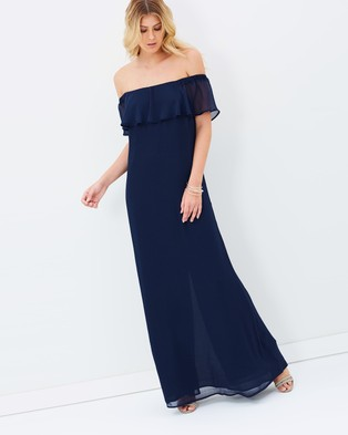 Atmos & Here – Reverence Off Shoulder Maxi Dress – Bridesmaid Dresses (Navy)