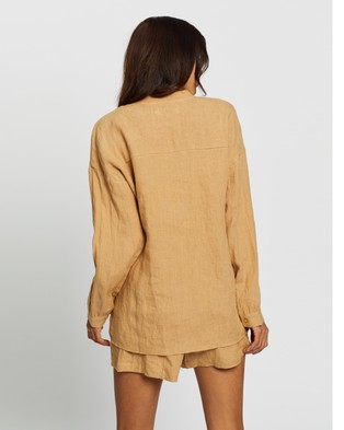 AERE Lounge Collarless Linen Shirt - Tops (Camel)