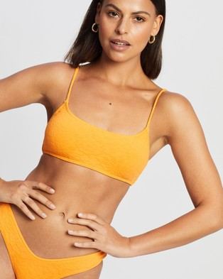 Endless At Sunset Scoop Bikini Top - Bikini Tops (Orange Floral Brocade)