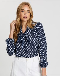 Dorothy Perkins - Heart Print Tie-Neck Top