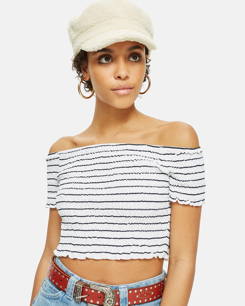 TOPSHOP Stripe Shirred Bandeau Top Cropped tops White Stripe Shirred Bandeau Top