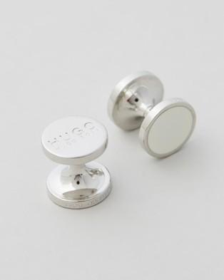 HUGO Round Enamel Cufflinks - Ties & Cufflinks (Open White)