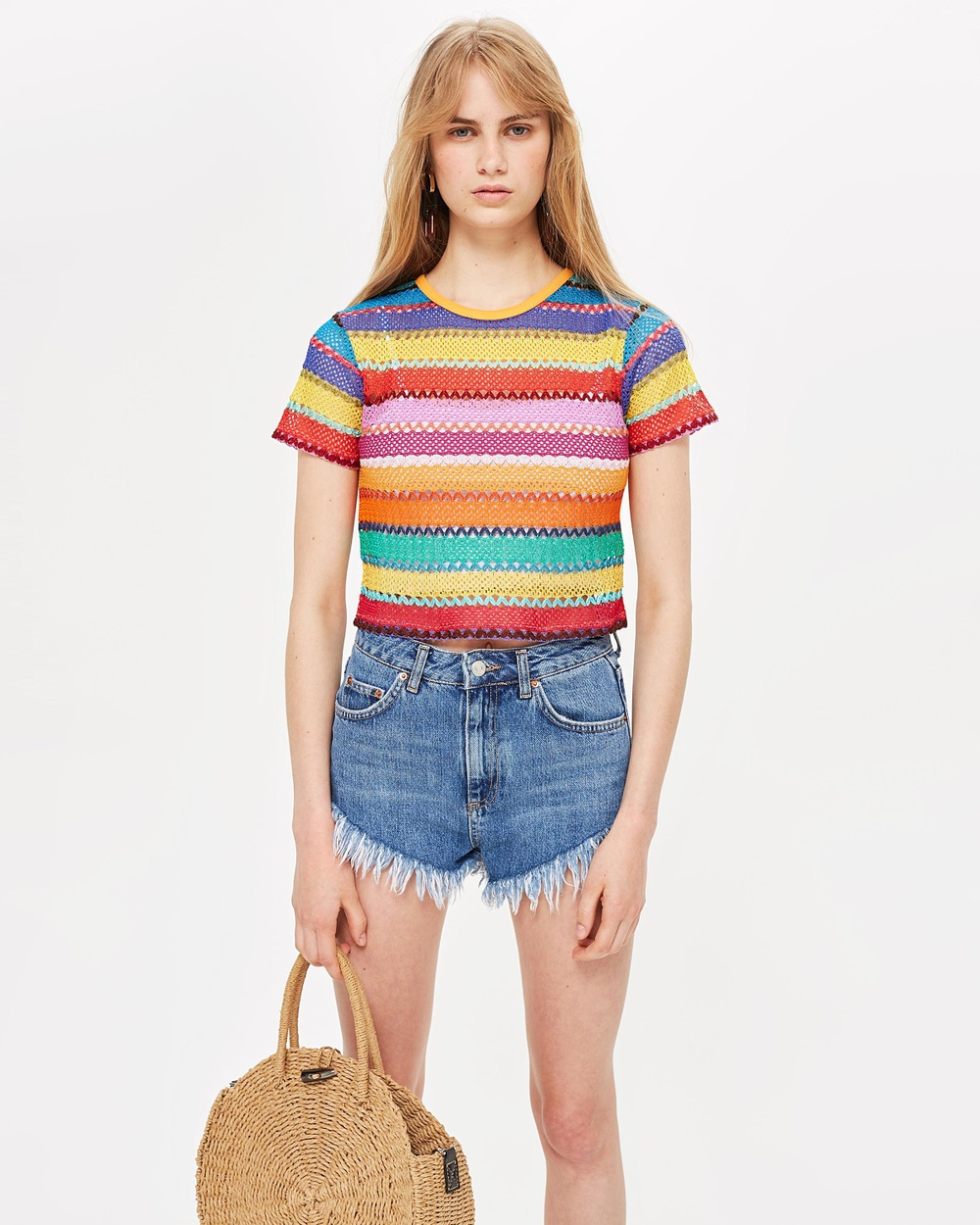 TOPSHOP Bright Crochet T Shirt Cropped tops Multi Bright Crochet T-Shirt