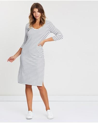 Atmos&here 3/4 Sleeve Midi Dress Stripe