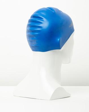 Speedo Plain Moulded Silicone Cap - Swim Caps (Neon Blue)