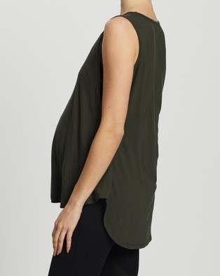 Angel Maternity Maternity & Nursing Tank Top - Maternity Singlets (Khaki)