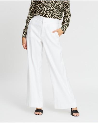 Banana Republic Petite High-rise Wide-leg Linen-cotton Pants White