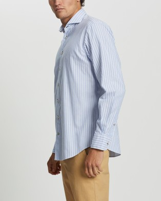 3 Wise Men The Perilla Tailored Shirt - Shirts & Polos (Blue Stripe)
