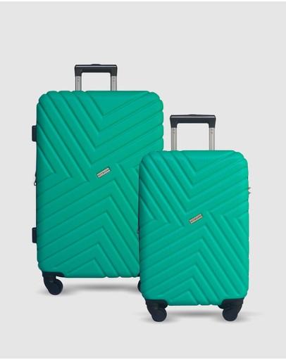 Jett Black Emerald Maze Short Stay Luggage Set Green