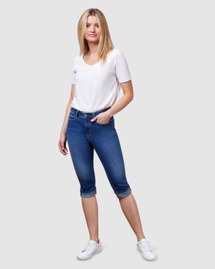 Jeanswest Repreve Mid Waist Pedal Pusher - Crop (Bright Indigo)