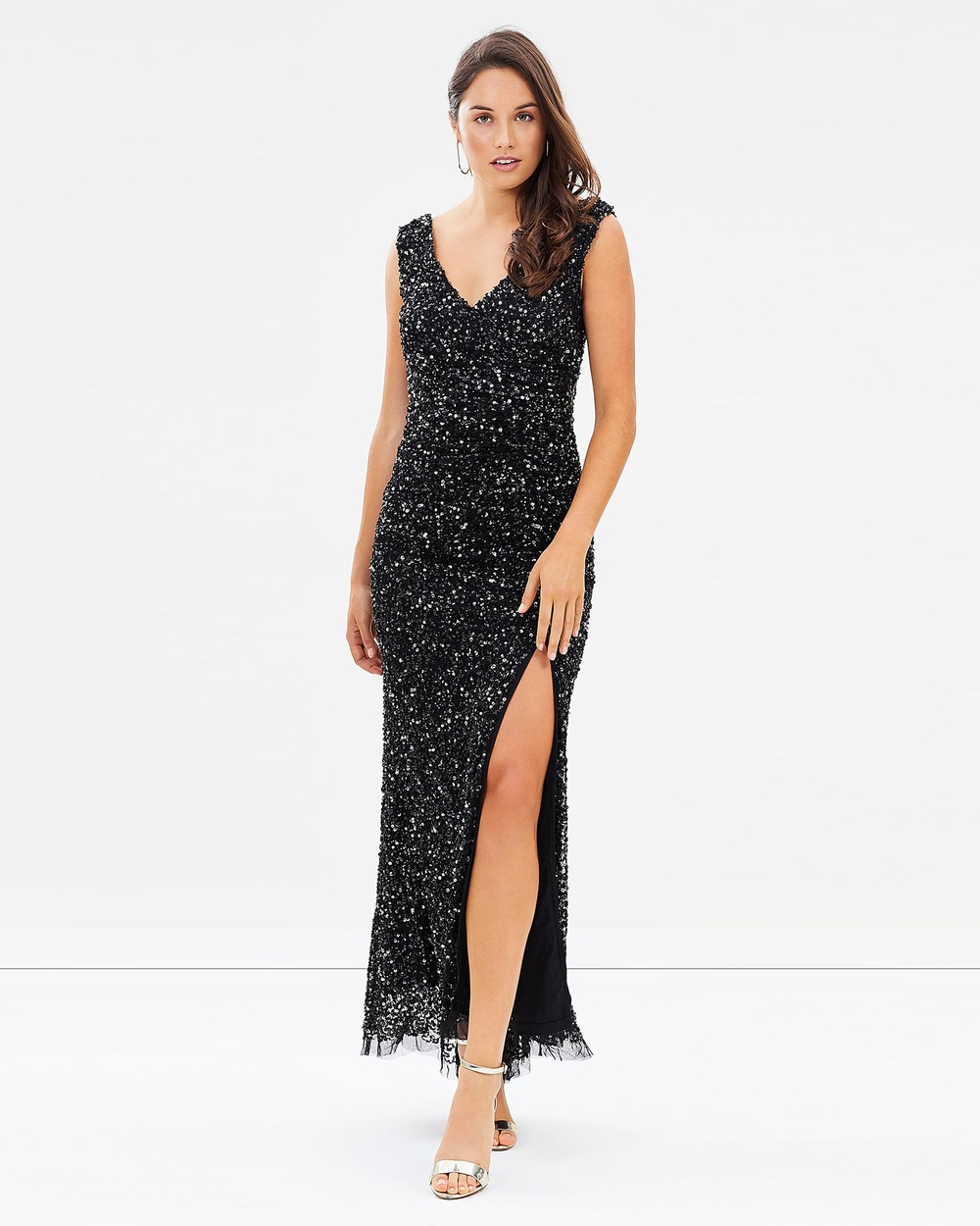 Montique Layla Hand Beaded Gown Dresses Black and Gold Layla Hand Beaded Gown