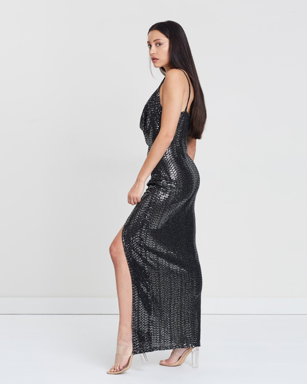 0b25ac9cf9c Sequin Cowl Neck Side Split Maxi Dress by Missguided Online