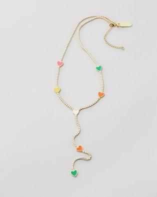 Emma Pills Rave Heart Hanging Necklace - Jewellery (Multi)