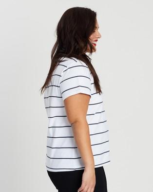 Atmos&Here Curvy Essential Cotton Crew Neck Tee - T-Shirts & Singlets (Navy & White Stripe)