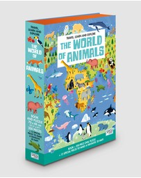 Sassi - Travel, Learn and Explore Book and 3D Puzzle Set - World of Animals 200 Pieces