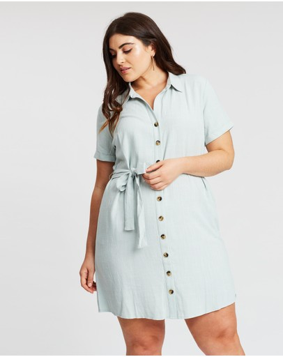 Atmos&here Curvy Liana Button Front Mini Dress Mint
